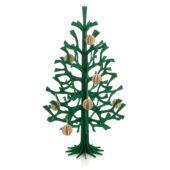 Lovi-kuusi 50cm, tummanvihreä, koristeltuna puunvärisillä 3,5cm Lovi-palloilla