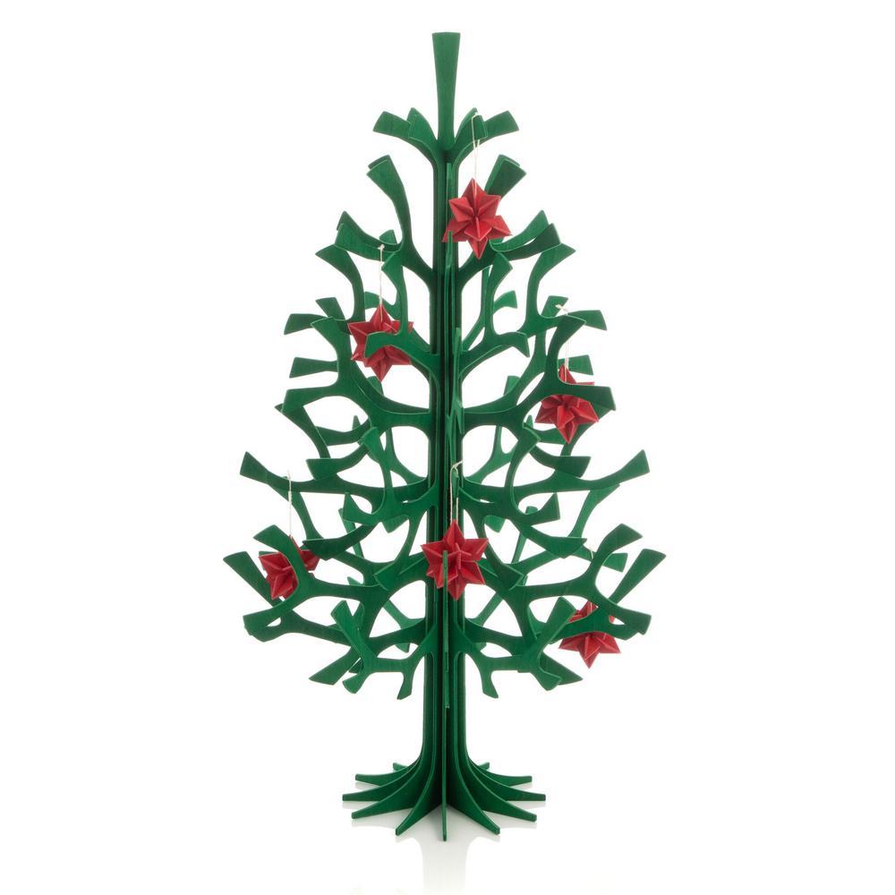 Lovi-kuusi 50cm, tummanvihreä, koottava puinen kuusi ja punaiset Lovi-tähdet 5cm