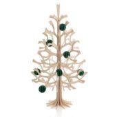 Lovi-kuusi 50cm, puunvärinen, koottava puinen kuusi ja tummanvihreät Lovi-pallot 3,5cm