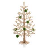 Lovi-kuusi 50cm koristeltuna vaaleanvihreillä 3,5cm Lovi-palloilla
