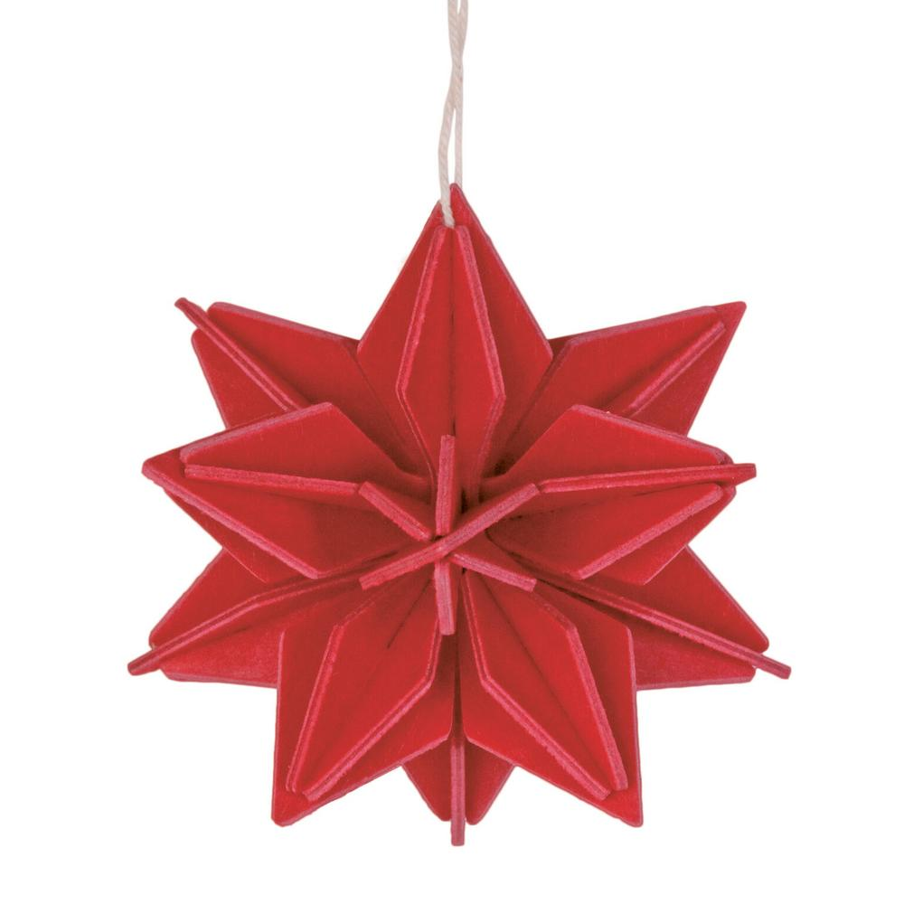 Lovi-tähti, kirkkaanpunainen, koottava puinen koriste