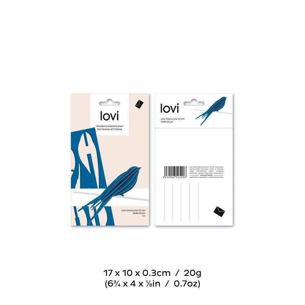 Lovi Swallow 10cm, wooden 3D puzzle, package with measures