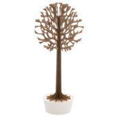 Lovi-puu 135cm, ruskea, koivuvanerista valmistettu, koottava puu valkoisessa ruukussa