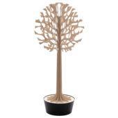 Lovi-puu 135cm, puunvärinen, koivuvanerista valmistettu, koottava puu mustassa ruukussa