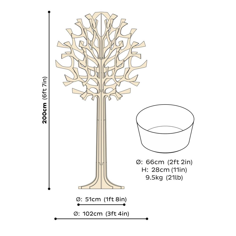 Lovi Tree 200cm, wooden 3D figure, measures