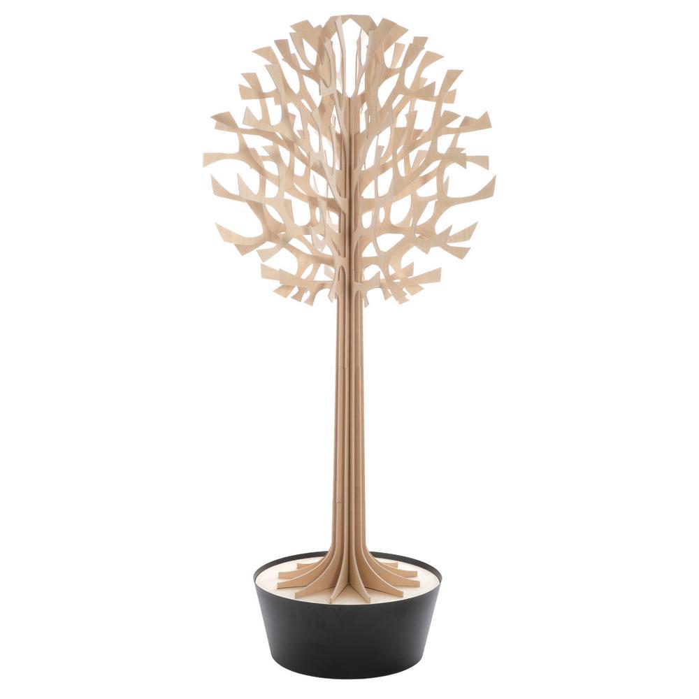 Lovi Tree 2m, natural wood with black pot, wooden 3D figure