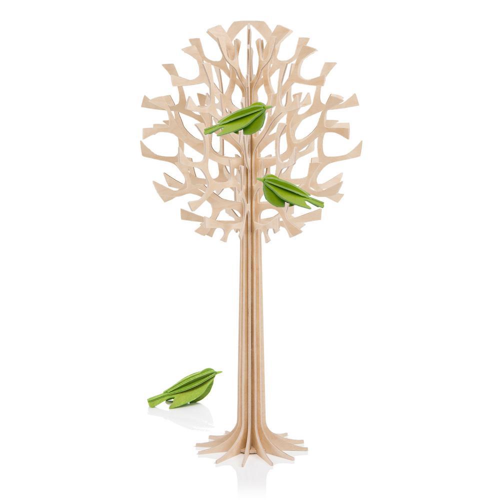 Lovi-puu 34cm vaaleanvihreillä minilinnuilla, puunvärinen, koottava koivuvanerista valmistettu puu