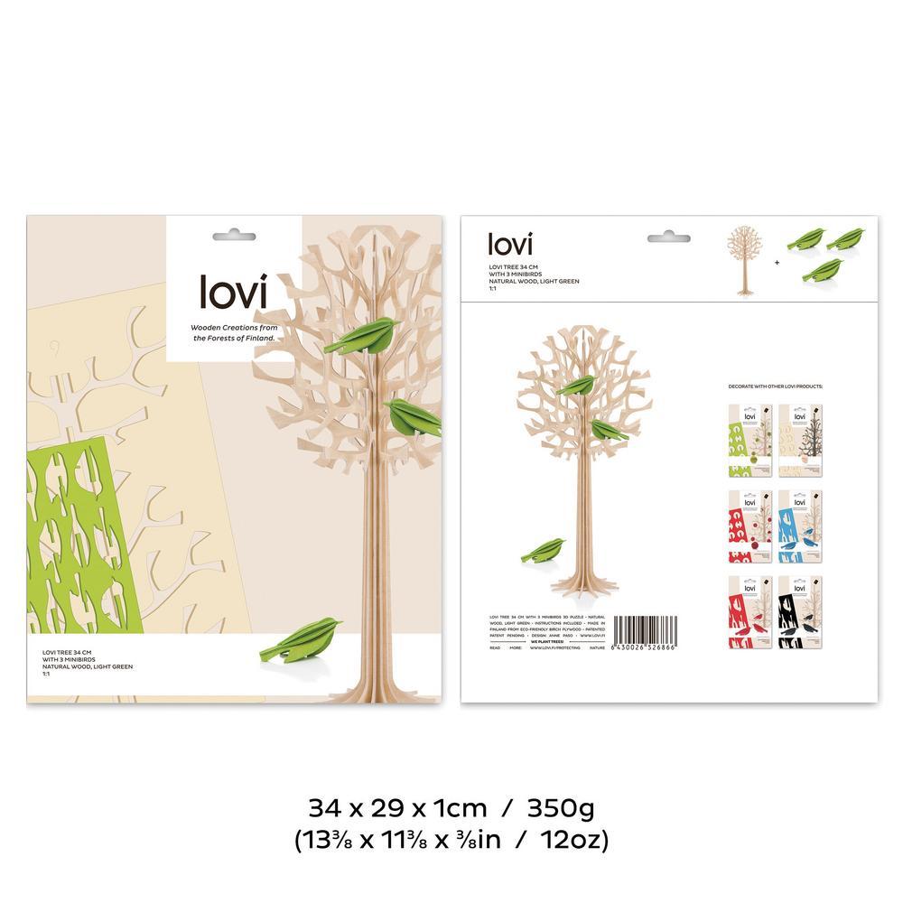 Lovi-puu 34cm vaaleanvihreillä minilinnuilla, koottava koivuvanerista valmistettu puu, pakkaus, mitat ja paino