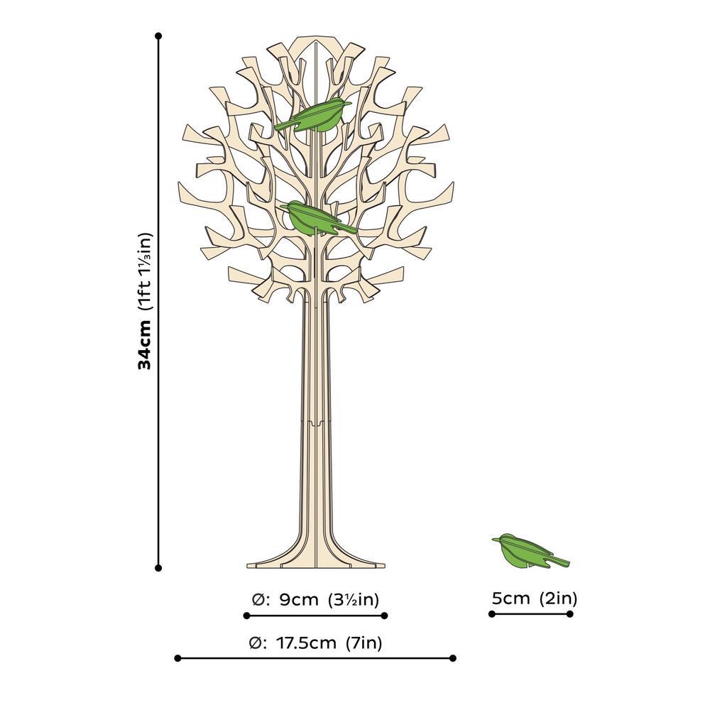 Lovi-puu 34cm minilinnuilla, koottava koivuvanerista valmistettu puu, mittakuva