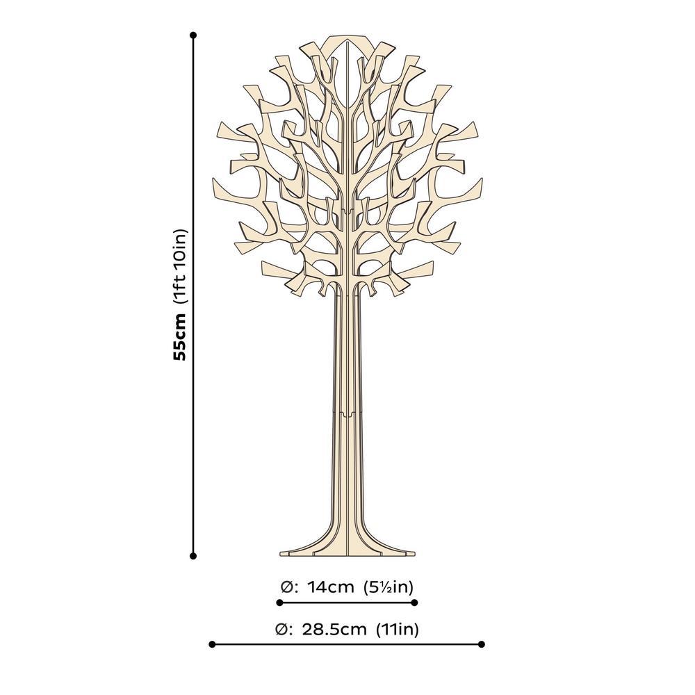 Lovi-puu 55cm, koivuvanerista valmistettu, koottava puu, mittakuva