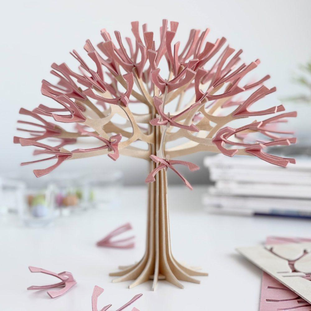 Lovi Cherry Tree 22cm, wooden 3D figure, light pink