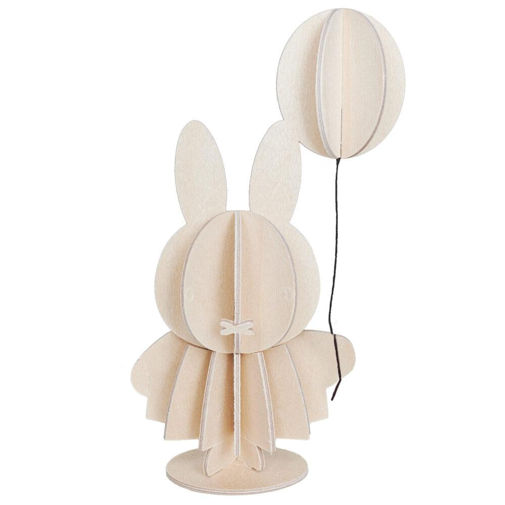 Miffy by Lovi, wooden 3D puzzle, natural wood, paint yourself