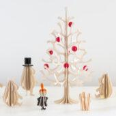 Lovi Spruce 30cm with bright red minibaubles and Moomin by Lovi, wooden 3D figures