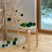 The Original Lovi Baubles on Lovi Spruce, light green and dark green, different sizes, wooden 3D puzzles