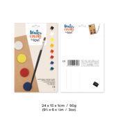 Lovi-vesivärit, 8 värinappia, sivellin ja opas värien sekoittamiseen, pakkauksen mitat ja paino